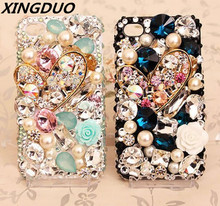 XINGDUO Luxury Pearl love Heart gem case for Samsung galaxy S10 Plus Lite S7 S9 S8 Note 8 9 Glitter Diamonds Flower shell