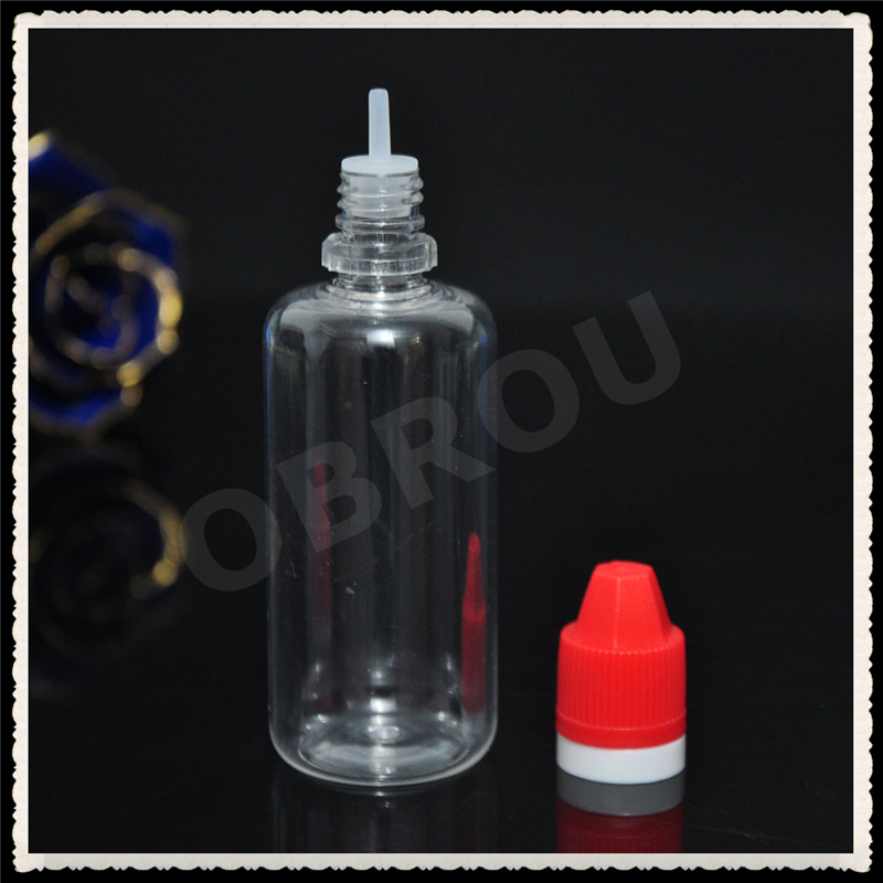 2017 new product launch transparent pet plastic dropper bottle with red cap for ejuice