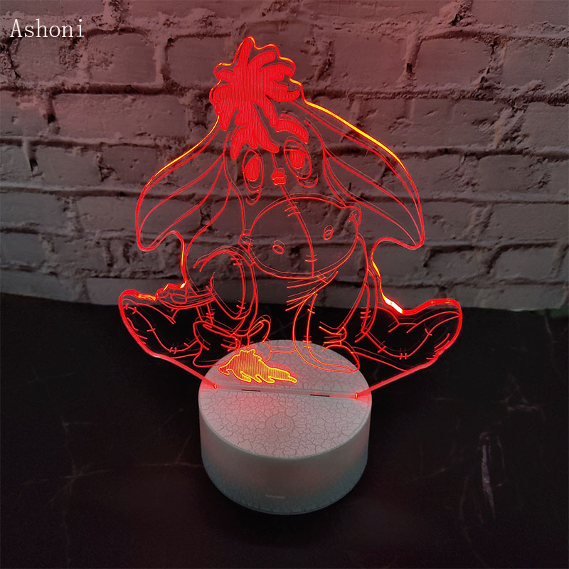 Eeyore Pooh Bear Friend New Cute Cartoon 3D LED Night Light 7 Color Acrylic LED Table Lamps Home Decor Holiday Kids Gift in LED Night Lights from Lights Lighting