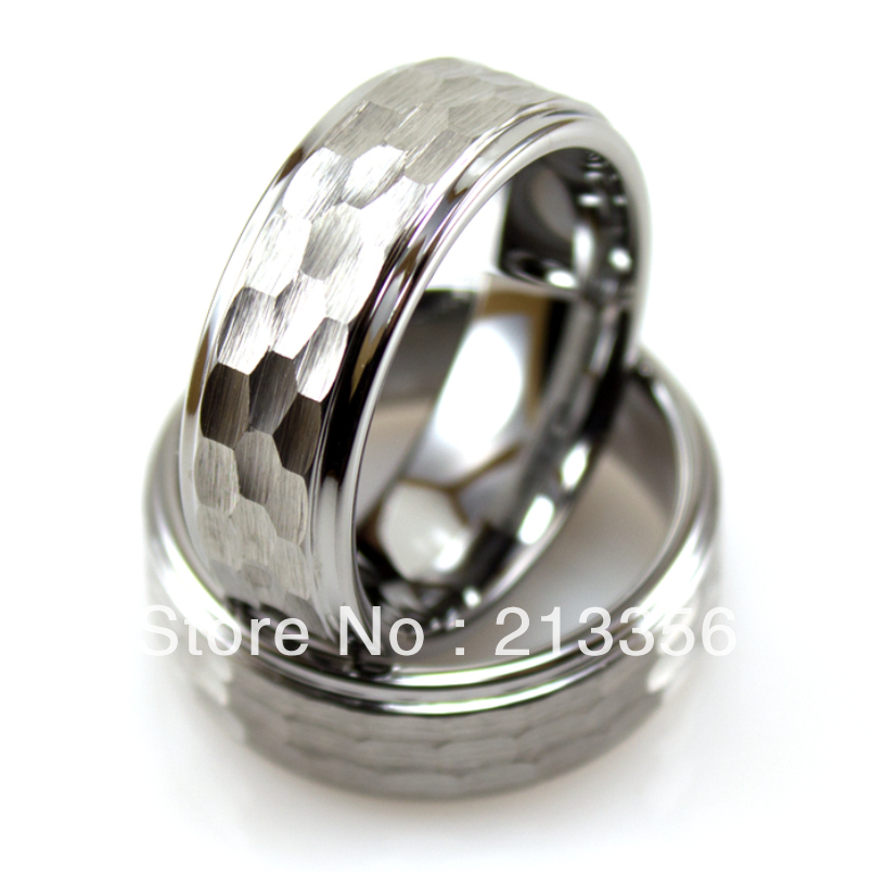 free shipping wholesales cheap price promotion sales usa hot selling mens tungsten wedding ring with brushed hammer hit design
