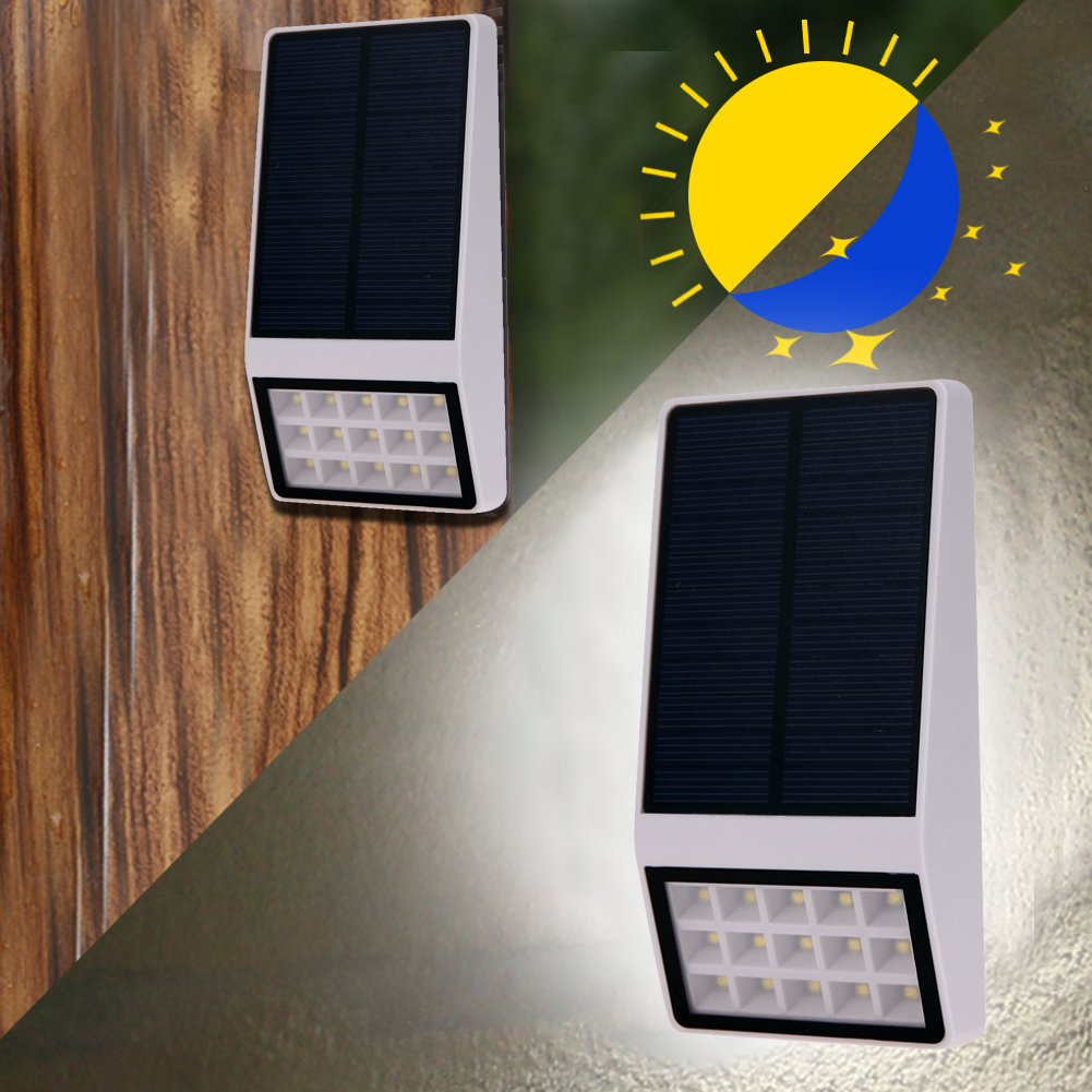 High Brightness White Solar Powered 15 LED Solar <font><b>Light</b></font> Waterproof Outdoor Fence Garden <font><b>Light</b></font> Lamp With <font><b>Light</b></font> Control+Switch