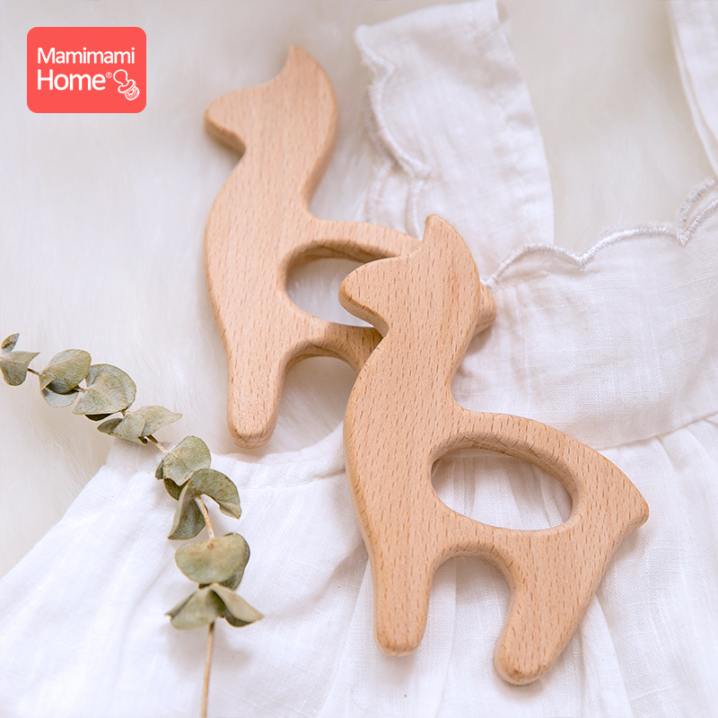 Mamihome 1pc Baby Wooden Teether Alpaca Pacifier Clips Chain Pendant Teething Holder Beech Rodent BPA Free Children'S Goods Toys