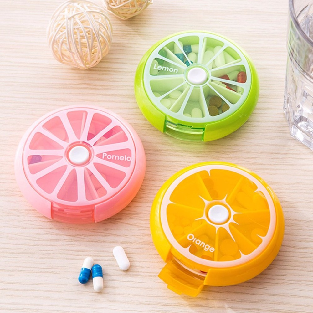 Portable Separate Round Rotatable Pills Food Grade ABS Plastic Mini One Segment 7 Pieces Boxes Portable Drug Storage Box