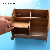 2017 New Cool High Capacity Multifunction Wood DIY Pens Holder Pen Stand For Desk Office Accessories