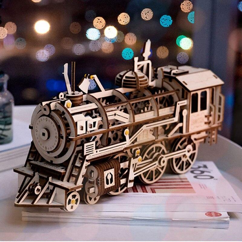 Rokr diy 3d 나무 퍼즐 기차 모델 시계 기어 드라이브 기관차 어셈블리 모델 빌딩 키트 어린이를위한 장난감 성인 lk701-에서모델 빌딩 키트부터 완구 & 취미 의  그룹 2