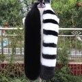 Потрясающие высокое качество искусственного меха лисы шарф длинный черный белый серый полосатый лоскутное роскошный глушитель пушистый модные теплый меховой шарф