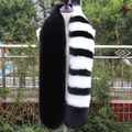 Impressionante qualidade superior falso cachecol de pele de raposa longo preto branco cinza listrado patchwork luxuoso cachecol fofo moda lenço da pele quente