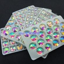 TopStone кристально чистый AB Rivoli пришивной камень с плоской задней частью 2 отверстия 8,10, 12,14, 16,18 мм круглые стеклянные швейные хрустальные бусины для изготовления платьев