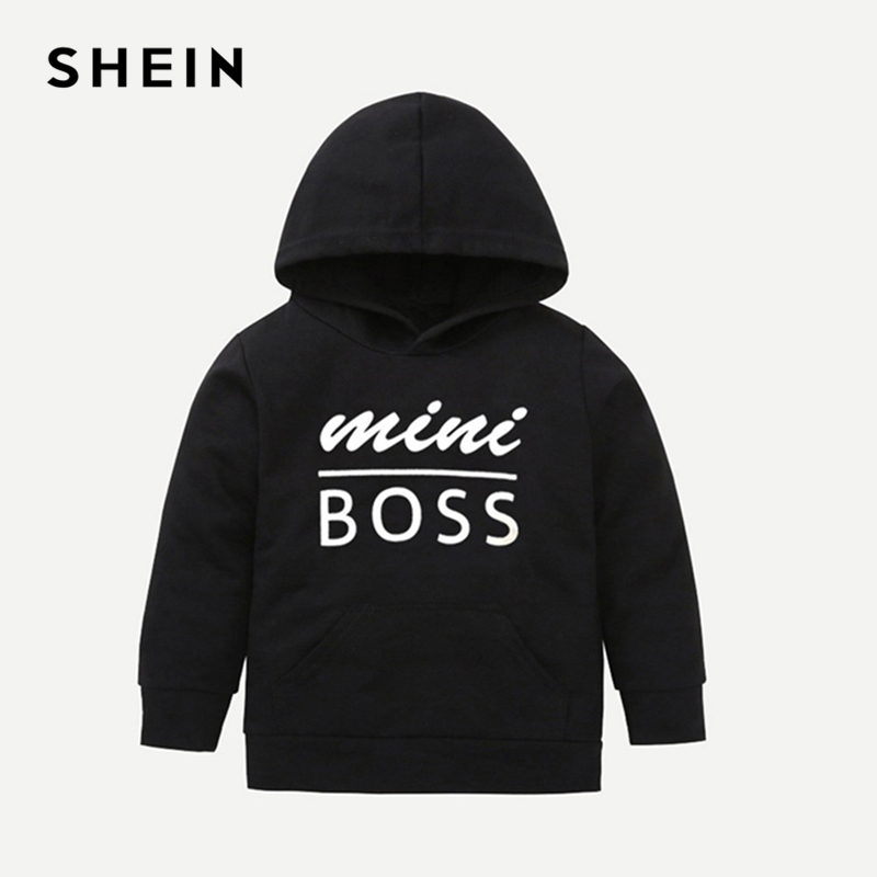 SHEIN Kiddie Toddler Boys Black Letter Print Hooded Casual Sweatshirt Kids Clothes 2019 Spring White Long Sleeve Pullovers Tops feather print sweatshirt