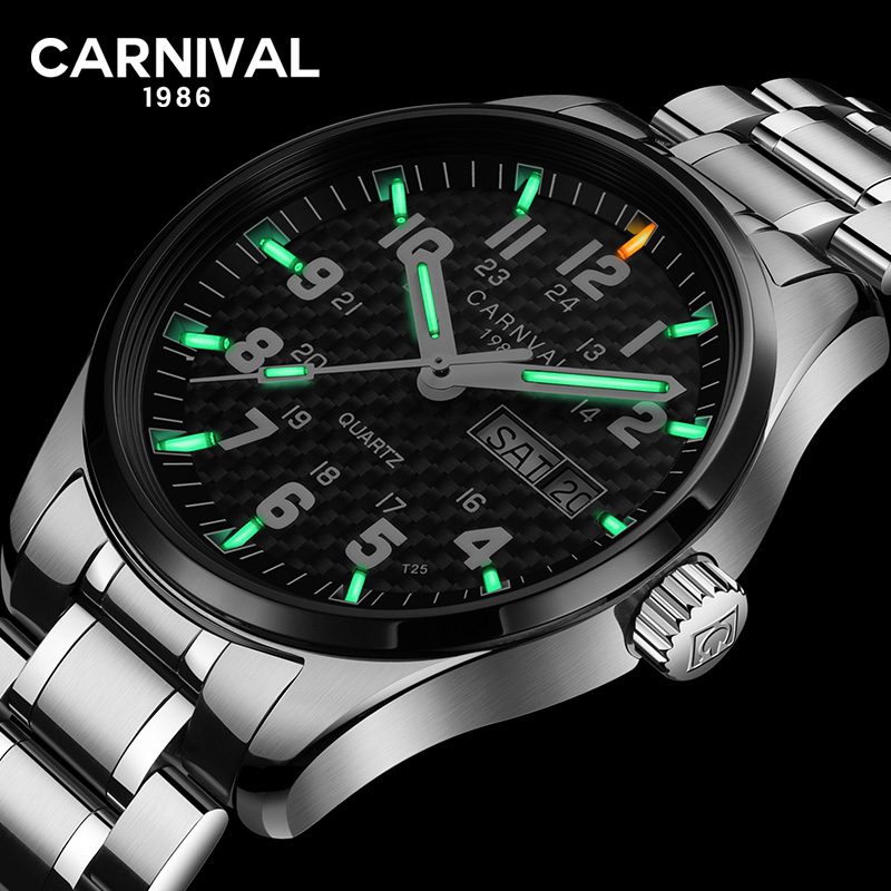 Carnival T25 Tritium Gas Luminous Quartz Watch Men Fashion Full Steel 30M Waterproof Watches Mens Clock Casual Wristwatches saat