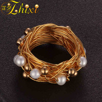 ZHIXI Freshwater Pearl Ring For Women Fine Jewelry Round Natural Pearl Wedding Bands Valentine's Day Gift Black Box EB204J