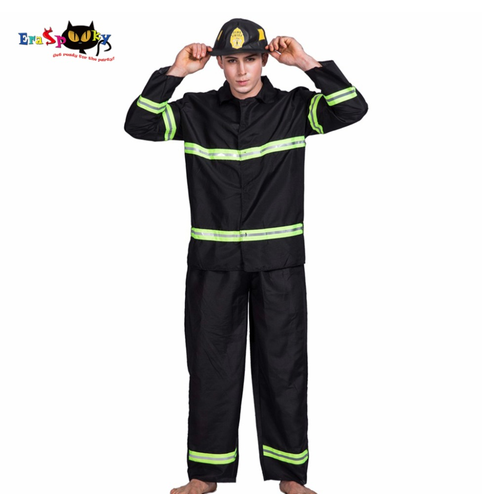 2017 Cheap Fire Fighter Cosplay Plus Size Adult Cosplay Costumes Jacket Pants And Hat Set 3 Piece Set Halloween Costume Men