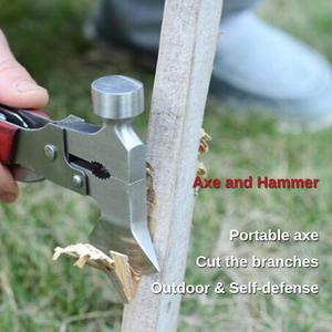 Image 5 - MYSBIKER Portable Multipurpose Multi Tool Multifunctional Pocket Mini Tools with Axe Hammer Plier Set Wooden Handle