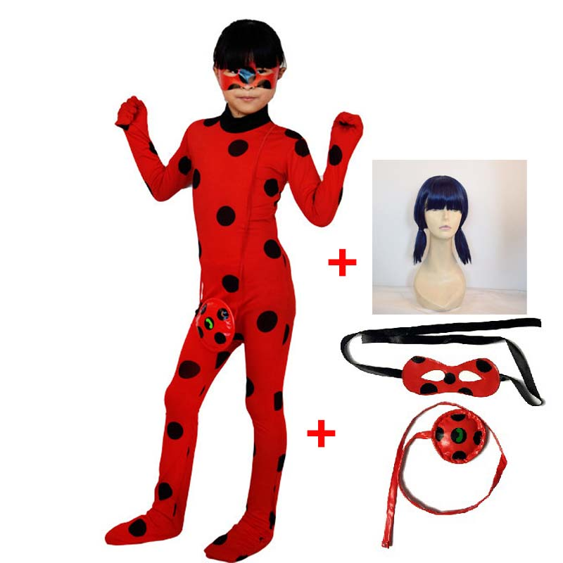 Dame bug halloween kostüme Marienkäfer Miraculous kinder mädchen sexy phantasie kleid kinder kleidung erwachsene spandex miraculous Anzug Perücke Tasche