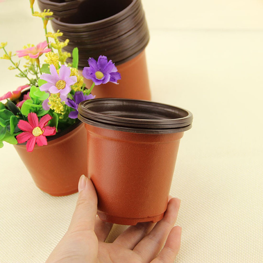AliExpress & US $2.19 30% OFF|Small Flower Pot 20Pcs/set Plastic Unbreakable Round Flower Pot Nursery pots Planter Home Garden Decor 9 X 8 X 6cm-in Flower Pots \u0026 ...