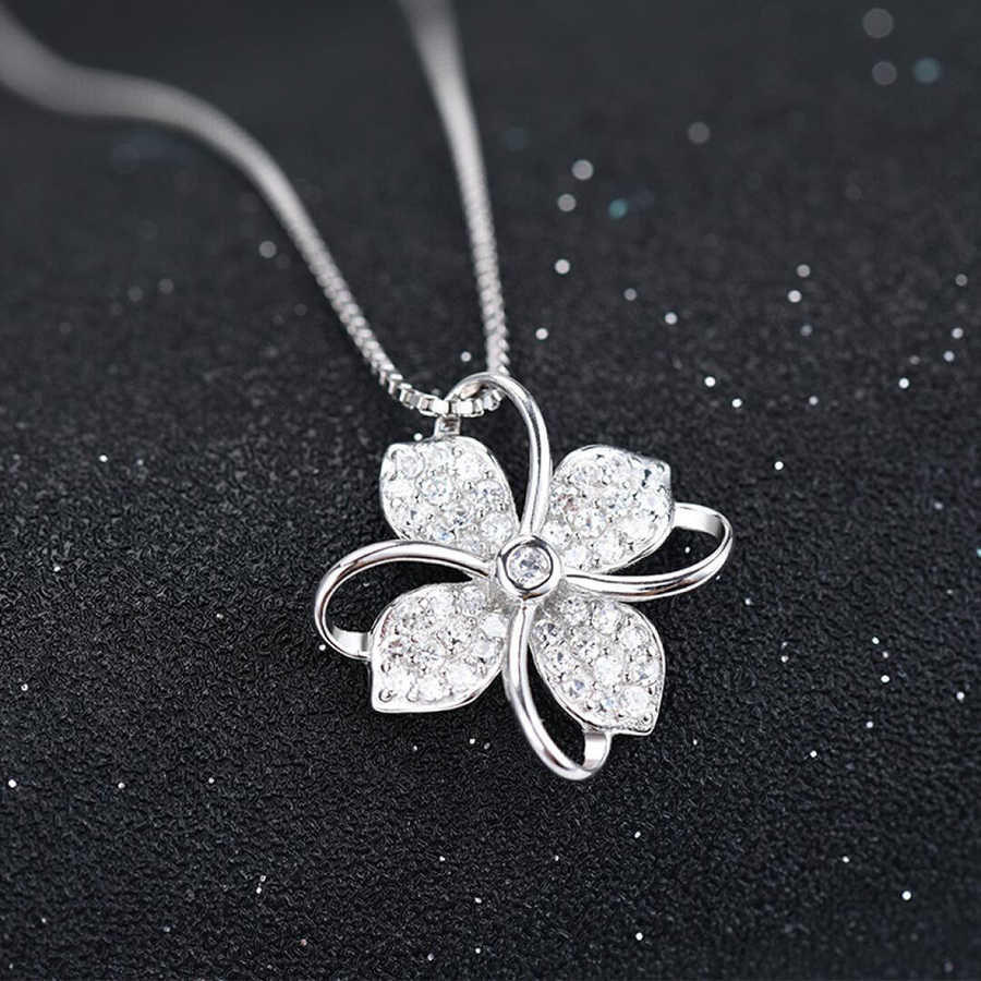Utimtree 2019 New Four Leaf Clover Choker Necklace Jewelry Flower 925 Silver Pendants Necklaces Chain Birthday Gift For Women