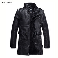 Leather Jackets Men Autumn Winter Faux Fur Coats Medium Long Motorcycle PU Leather Jacket Thick Wind