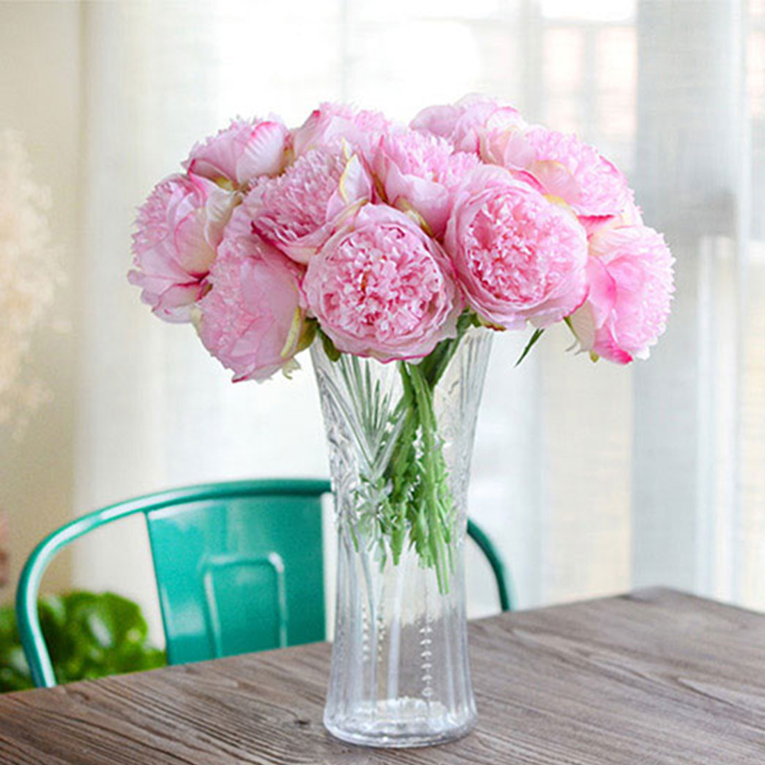 Cheap Silk Flower Bouquets For Weddings: Great Cheap Artificial Fake Peony Silk Flowers Bridal