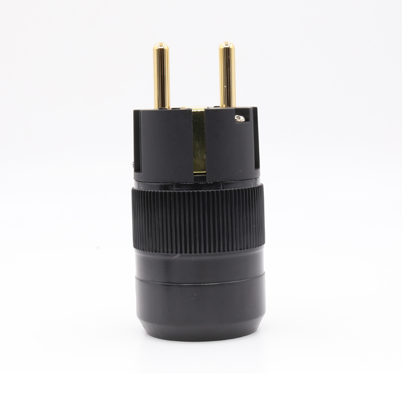 Factory Directly Offer 24k Gold Plated EU Male Plug Hifi Schuko Power Connectors