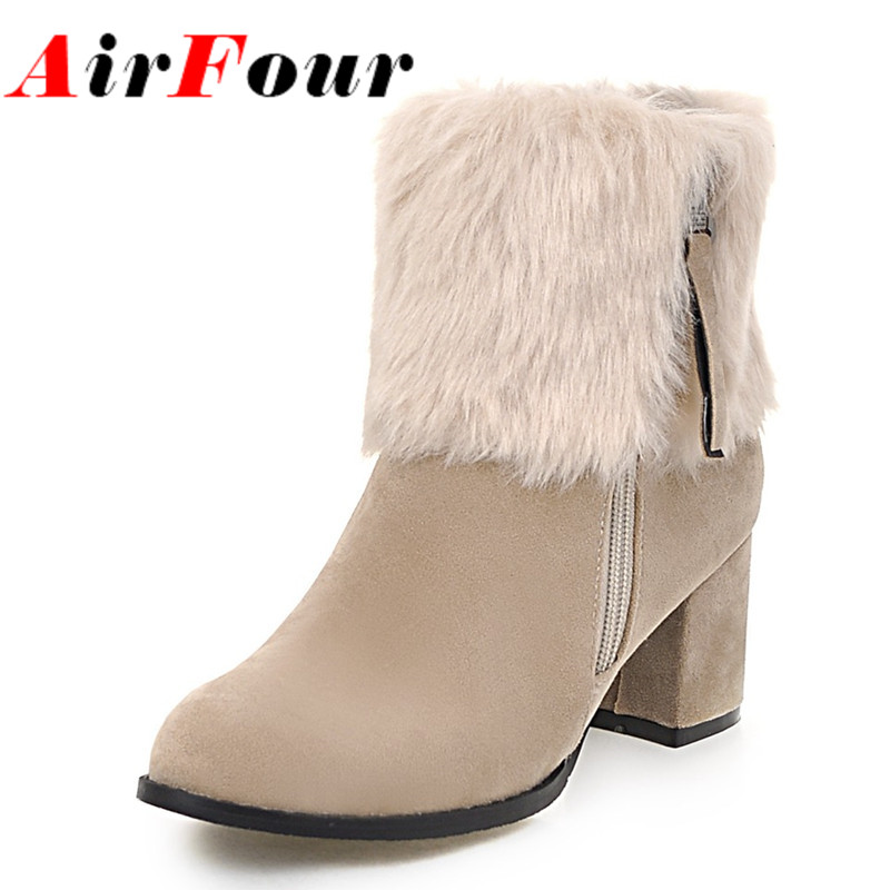ФОТО Airfour Large Size 34-43 Ankle Boots for Women High Heels Zippers Winter Warm Snow Boots Fur Charms Classic Black Platform Shoes