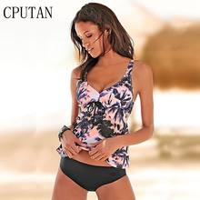 2019 Swimwear Women Tankini Set Plus Size Two Piece Vintage Floral Swimsuit Push Up High Waist Sport Bathing Suit Beach Wear XXL(China)