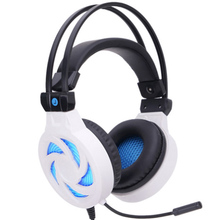 hot deal buy headset for gaming gamer stereo headphones headband earphones with microphones led light wire control for pc soyto sy855mv