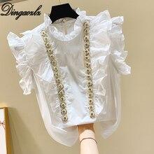 Dingaozlz/белая рубашка с коротким рукавом; Милая женская одежда с листьями лотоса; шифоновая блузка с воротником и жемчужинами; топы; roupas feminina