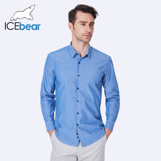 ICEbear 2017 Spring New Fashion Men Clothes Shirts Single Breasted Long Sleeve High Quality Soft Shirt Men CD300D