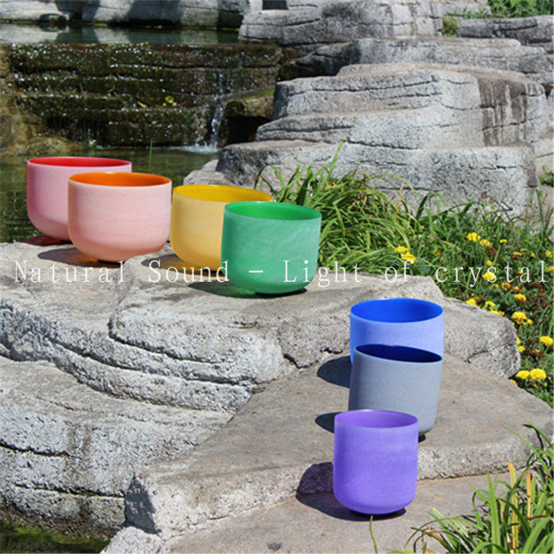 Chakra Tuned Set of 7 Colored Frosted Quartz Crystal Singing Bowls 8 12 with free suede mallet and O ring