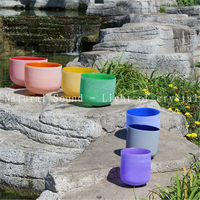 Free Shipping Cost Chakra Tuned Set Of 7 Colored Frosted Quartz Crystal Singing Bowls 8 12
