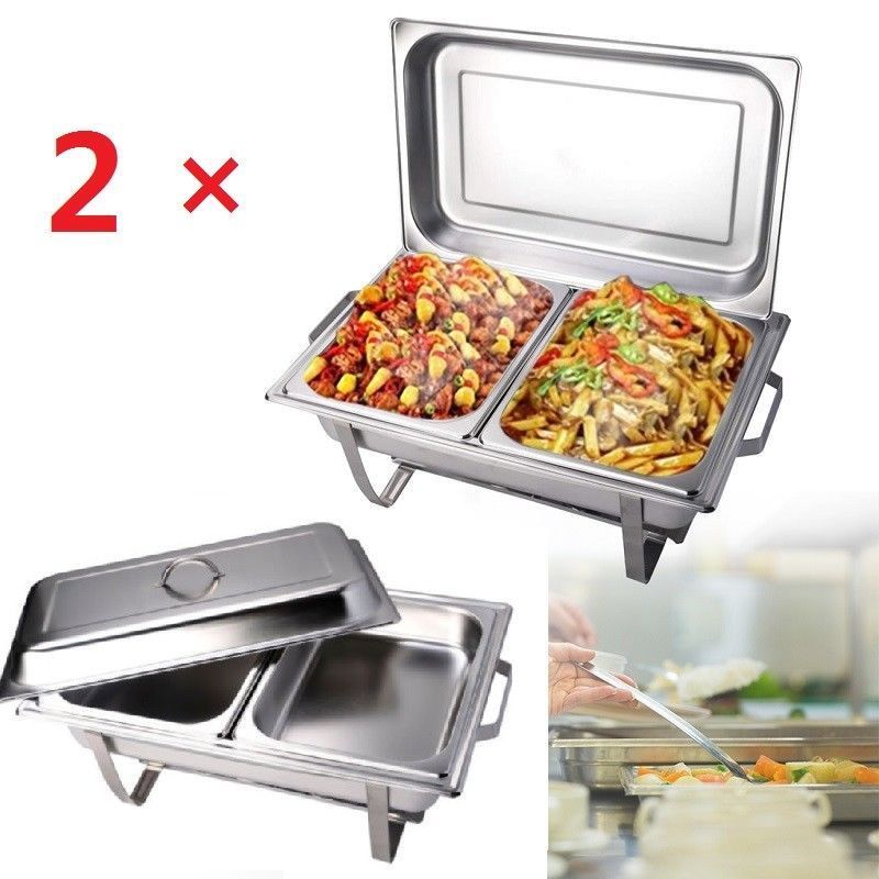 2pcs 9L Chafing Dish Buffet Stoves Caterers Food Warmer Tray Dinner Serving