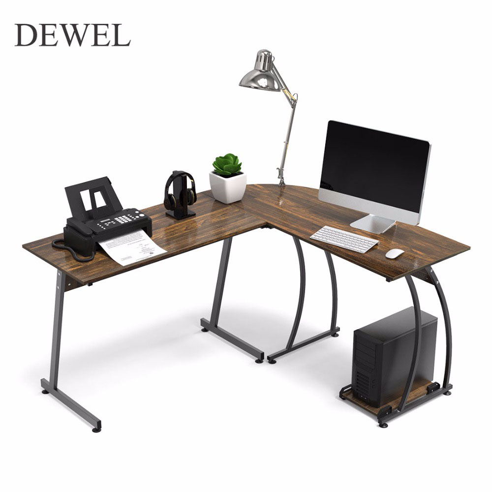 Us 113 6 29 Off Dewel L Shaped Corner Computer Desk 59 X 51 Home Office Table 3 Piece Laptop With Free Cpu Stand 2 Sides Switch In