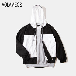 Aolamegs men jacket black and white patchwork hooded windbreaker joggers jackets 2016 fashion casual outwear veste.jpg 250x250