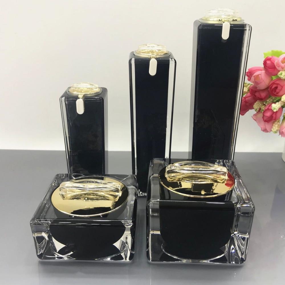 цены на High Grade Black Cosmetics Sub Acrylic 30/50/100ML Lotion Pump Bottle, Classic 15/30/50G Acrylic Cream Jar 6PCS 1Suit
