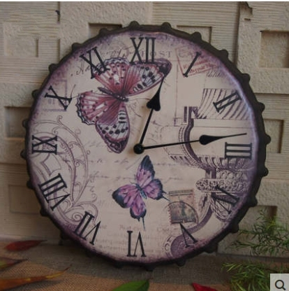 Fashion Vintage Metal Antique Color Wall Clock Bar Watches Beer Cover Retro Finishing Mute Wall Clock For Living Room Decoration