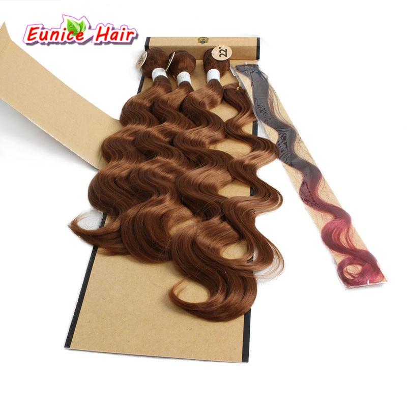 Ombre синтетические бразильский естественных волна волос утка клип в Средства ухода за к ...