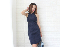 Women's Spring summer autumn High quality suede hollow waist dress Sexy Club Party dresses 60 Colors Customize female dresses