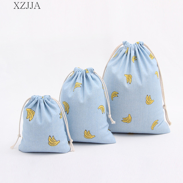 XZJJA Portable Banana Drawstring Storage Bags Travel Clothing Shoe Underwear Beam Pouch Sundries Organization Tea Gift Bags