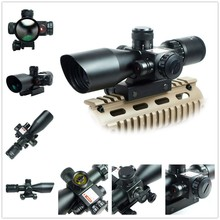 Sale 2.5-10×40 E/R Tactical Rifle Scope With Red Laser & Mount / Airsoft Mil-dot Dual Illuminated Riflescope Telescopic Sight + Laser