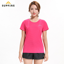 Supfire Running Sports T Shirt Quick Dry Gym T-shirt Slim Fit Tops Tees Womens Fitness Short Sleeve Training Sportswear C002