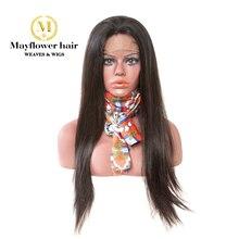"""150% плотность полный парик шнурка девственные прямые волосы натуральный цвет средний размер с регулировкой ремни длина волос 8-2"""" Mayflower"""