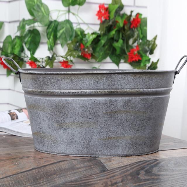 Pastoral Style Retro Silver Iron drum Planter Tin Bucket flower Pots ...