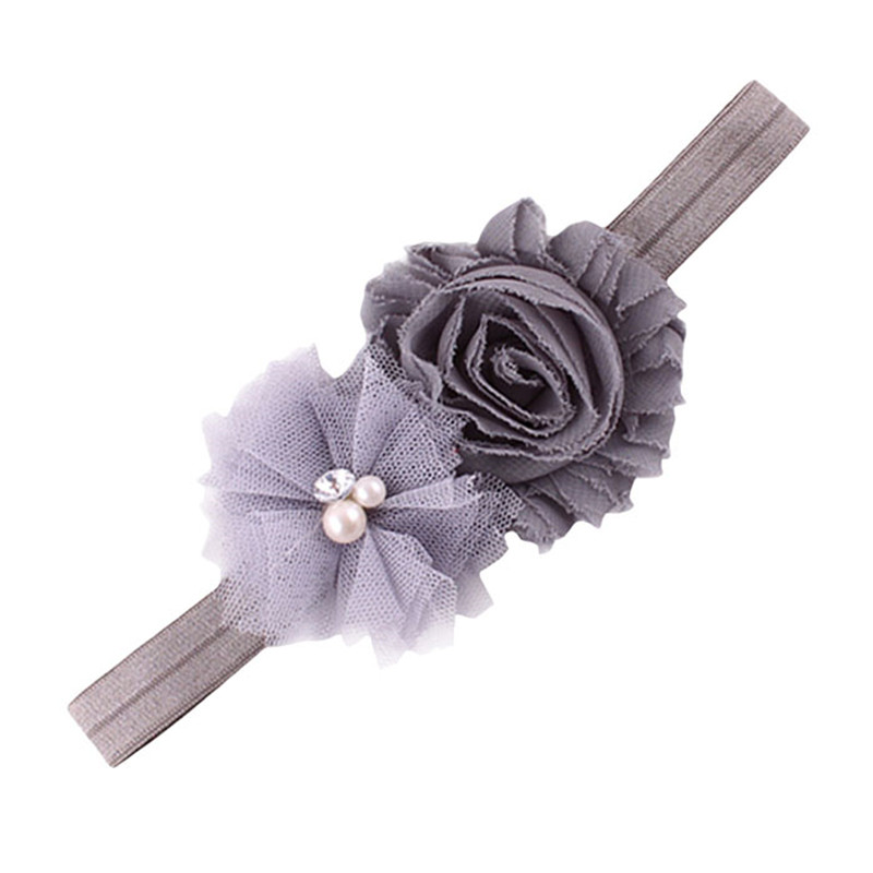 Wholesale 9 Colors Lovely Cute Headbands Pearl Lace Up Headbands Girls Hair Band Cloth Fashion Elastic Flower Hair Accessories
