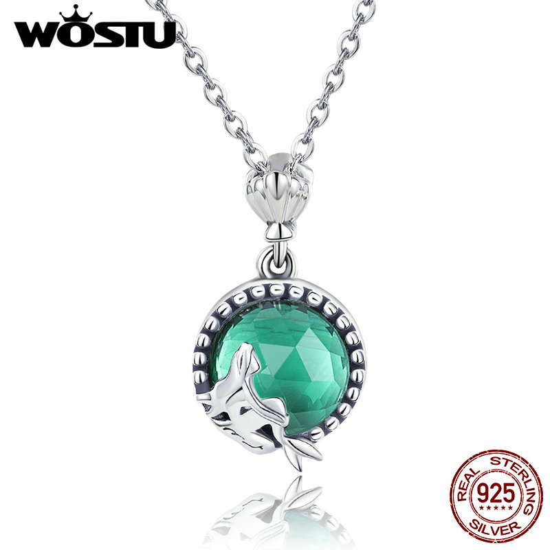 WOSTU New Trendy 925 Sterling Silver Love Of Mermaid Pendant Choker Necklace For Women Fashion Kolye Jewelry Gift CQN262