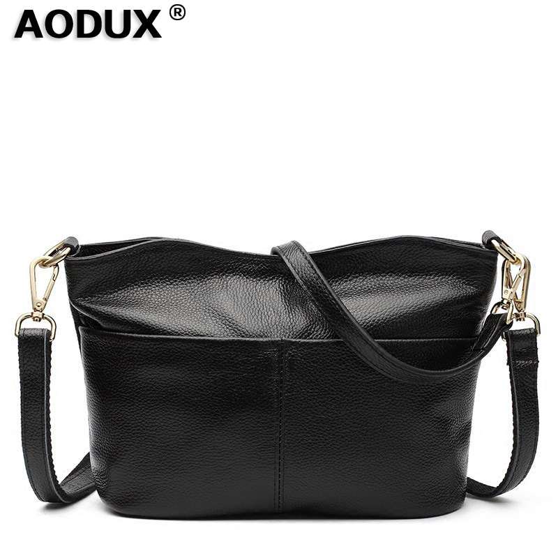 AODUX 2018 Women Fashion Small Real Cowhide Luxury Famous Brands Handbag Genuine Leather Tote Shoulder Messenger
