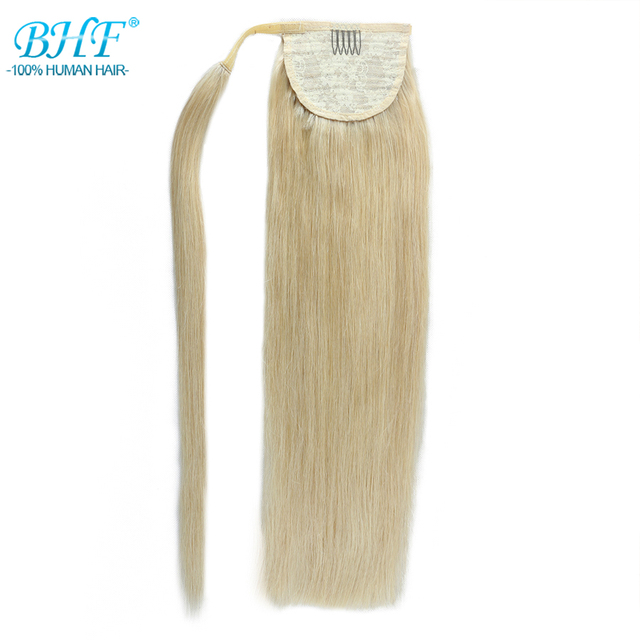 BHF Human Ponytail Hair Straight Russian Remy Pony Tail Extension 2# Dark Brown 613# Blonde 120g 24inch Clip in Wig 1