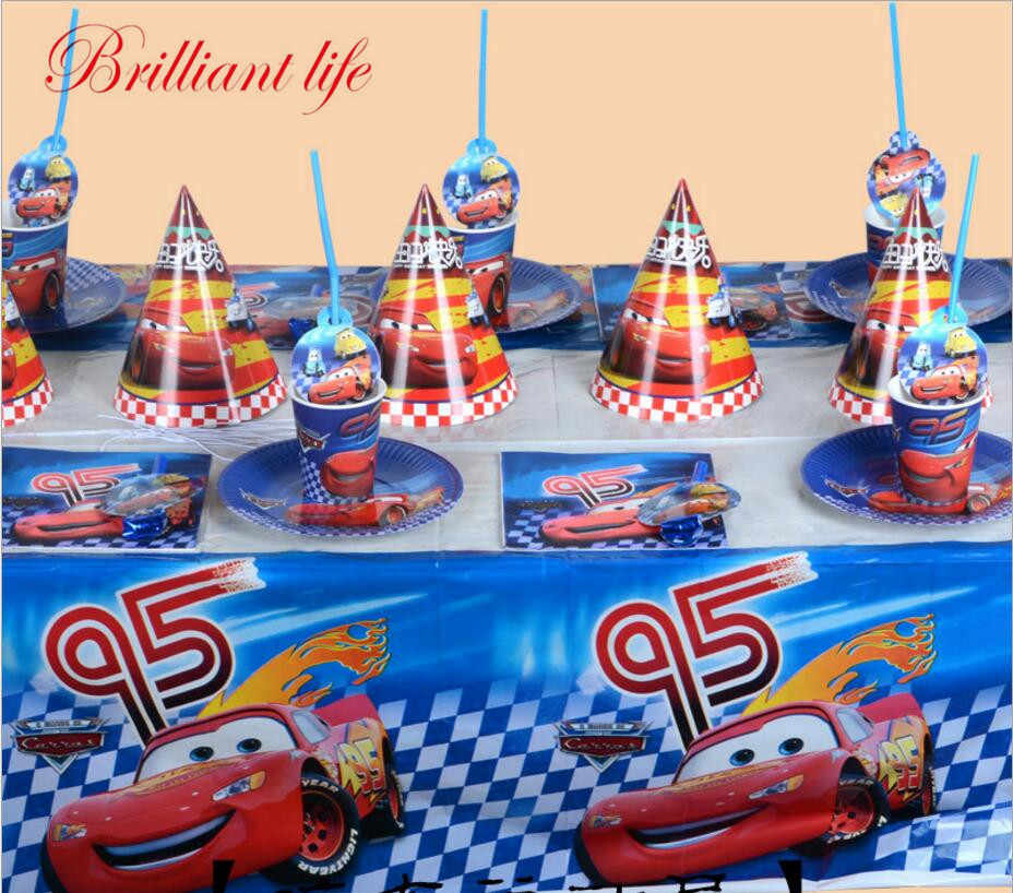 81pcs/lot Disney Cars Theme Kid Boy Birthday Party Supplies Paper Cup Plate Gift Bag Napkin Baby Shower Banner Decoration Supply