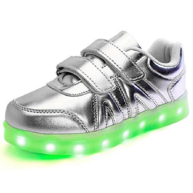 2016 New kids 4 Cor Luz LED Sapato Crianças Sapatilhas Meninas Meninos Carga USB Luminosa Sports Running Shoes crianças LED sapatos