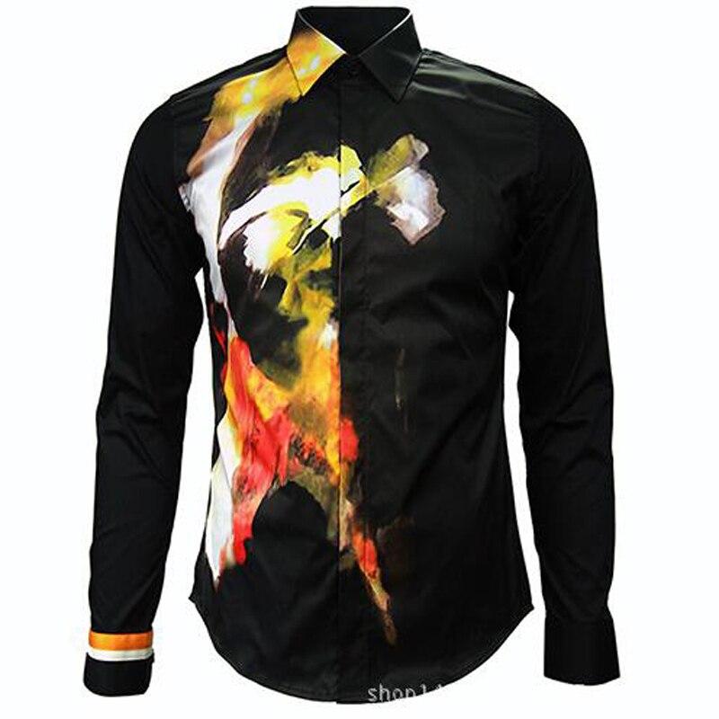 Hommes gothique T Show marque qualité coton à manches longues chemises décontractées Euro mode col rabattu motif Royal chemise homme tissu