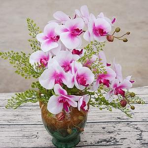 Image 2 - Orquídea de mariposa de poliuretano Real al tacto, flores artificiales para casa, decoración de fiestas de bodas, regalo de Navidad